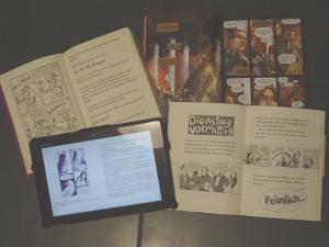 """Beispiele für Graphic Novels /Comicromane: oben: """"Dork Diaries"""", """"Game of Thrones - Das Lied von Eis und Feuer"""" unten: """"Ich bin Princess X"""" und """"Bleibt locker Leute"""""""