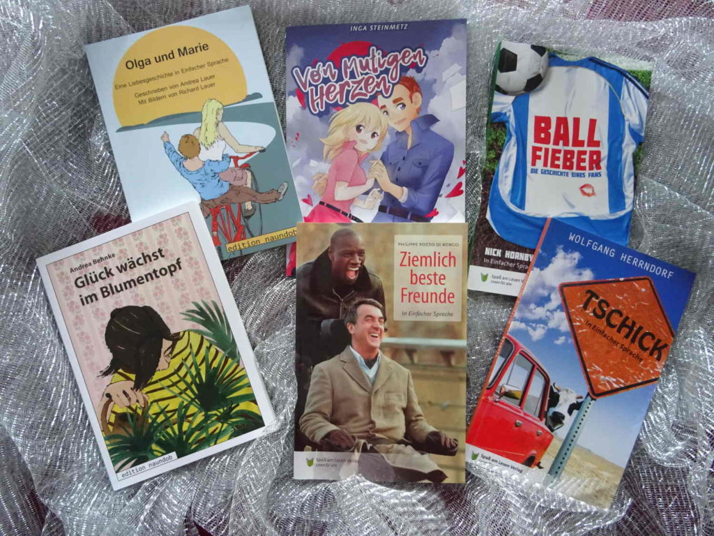 """Inhalt """"meiner"""" Buchbox mit Büchern in einfacher Sprache #liebeslesen"""