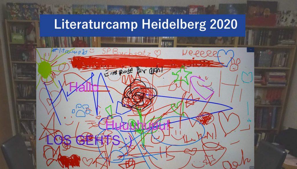 Litcamp20 Collage, Bücherregal und kreatives Whiteboard, mit Gekritzel, welches zu Beginn des digitalen BarCamp entstand