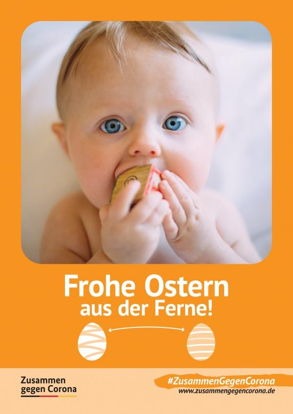 """MyPostcard Karte #ZusammenGegenCorona mit dem Spruch """"Frohe Ostern aus der Ferne"""" mit eigenem Bild"""