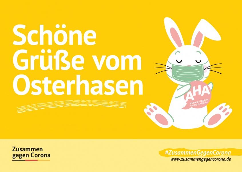 """MyPostcard Karte #ZusammenGegenCorona Postkarte mit dem Spruch """"Schöne Grüße vom Osterhasen"""""""