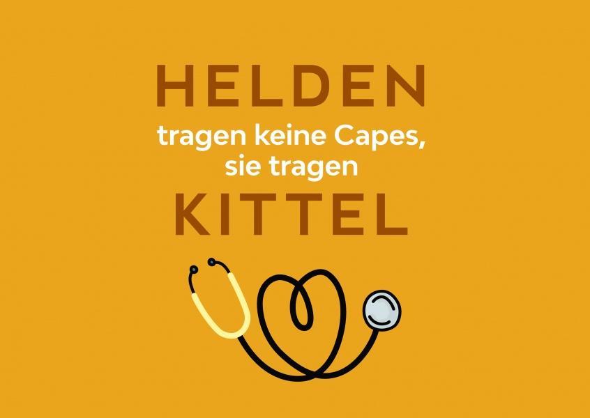 """MyPostcard Karte, die nicht zur Aktion #ZusammenGegenCoroana gehört mit dem Spruch """"Helden tragen keine Capes, sie tragen Kittel"""""""