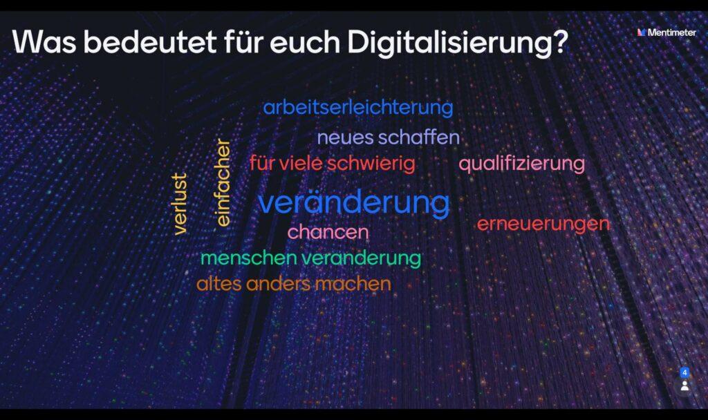Was bedeutet für euch Digitalisierung? Arbeiterleichterung, neues schaffen, für viele schwierig, Veränderung, Qualifizierung, Erneuerungen, Chancen, Menschen Veränderung, altes anders machen, Verlust, einfacher